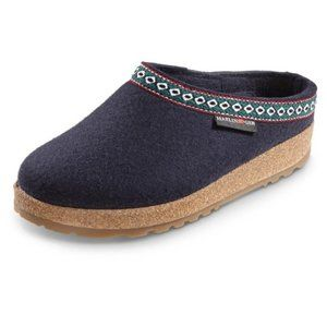 Haflinger Grizzly Boiled Wool Slippers Blue 36